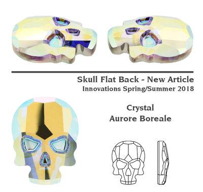 Swarovski 2856 Skull Crystal AB 3stks (77)